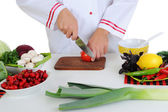 Chef cuts the vegetables — Stock Photo
