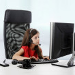 Girl looks in the computer — Stock Photo #4073480