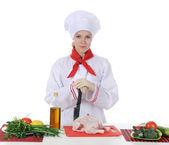 Przystojny młody kucharz w mundurze. — Zdjęcie stockowe