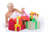 Bride with gifts — Stock Photo