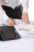 Business person hands working with document — Stock Photo
