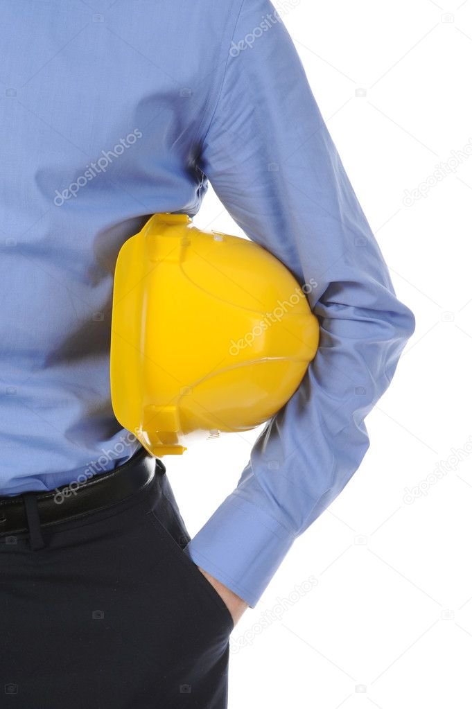Businessman with construction yellow helmet. Isolated on white background — Stock Photo #4409799