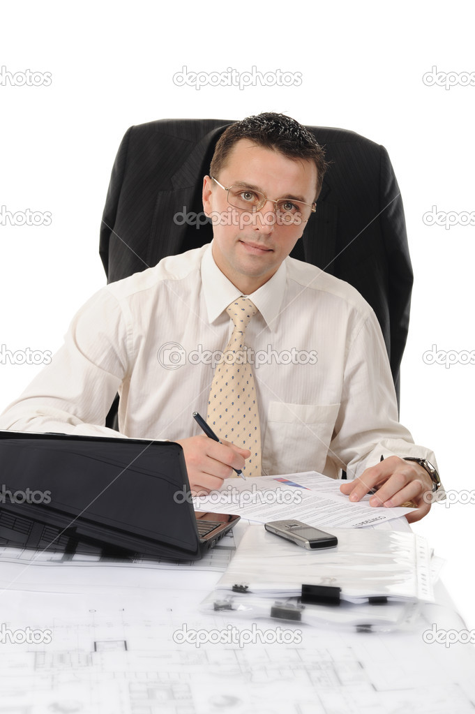 Businessman sitting before a computer. Isolated on white background — Stock Photo #4461279