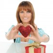 Young woman with a gift box — Stock Photo #4813232