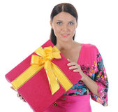 Brunette with a gift — Stock Photo