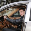 Man in the cab car — Stock Photo