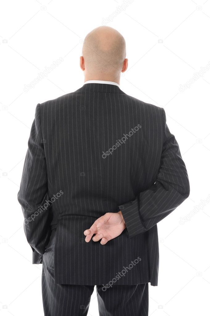 Liar businessman with crossed fingers at back. Isolated on white background — Stock Photo #4993899