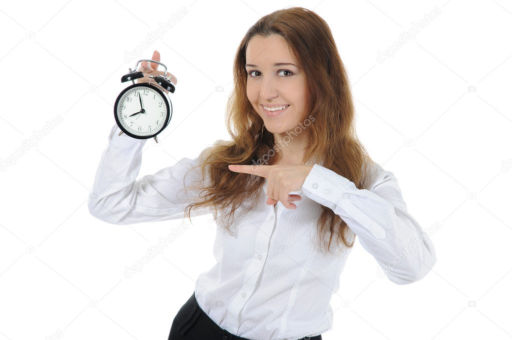 Businesswoman with an alarm clock in a hand. Isolated on white background — Stock Photo #5026259