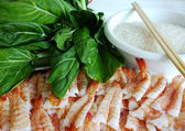 Prawns with Pak Soi Col and Rice — Stock Photo