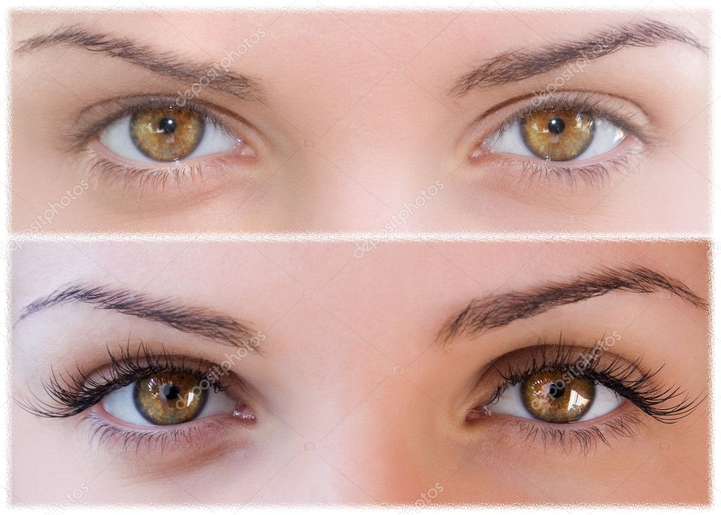 Natural and false eyelashes before and after — Stock Photo #3182076