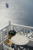 Santorini .Balcony and cruise ship. — Stock Photo