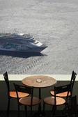 Balcony and cruise ship — Stock Photo