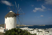 Windmill and harbour Mykonos — Stock Photo