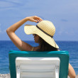 Woman relaxing at the beach — Stock Photo #3356555
