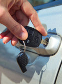Person Inserting Car Key — Stock Photo
