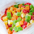 Close up of assortment of colorful candy in plastic bag — Stock Photo
