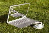 Computer and coffee on the grass — Stock Photo