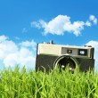 Vintage camera in tall grass - Stock Photo