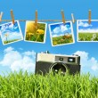 Grass with  vintage camera and pictures - Stock Photo