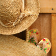Wicker purse with sun hat - Zdjęcie stockowe