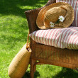 Wicker chair on the grass — Stock Photo