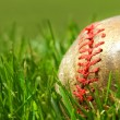 Old baseball glove on the grass - Stock Photo