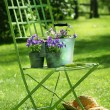 Green garden chair - Stock Photo