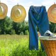 Blue jeans and straw hats on clothesline - Stock Photo