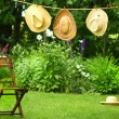 Straw hats on an old clothesline — Stock Photo