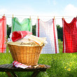 Stock Photo: Towels drying on clothesline