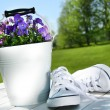 White running shoes - Foto Stock
