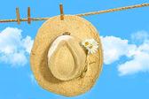 Cappello di paglia su stendibiancheria — Foto Stock