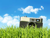 Vintage camera in tall grass — Stock Photo