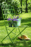 Green garden chair — Stock Photo