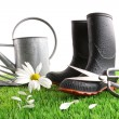 Boots with watering can and daisy in grass — 图库照片