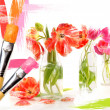 Paint brushes painting tulips in bottles — Stock Photo