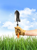 Hand holding garden trowel against blue sky — Stock Photo