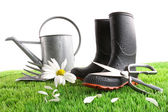 Boots with watering can and daisy in grass — Stock Photo