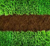 Fundo verde de grama e terra — Foto Stock