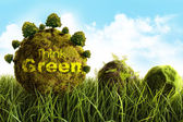 Moss covered balls laying in tall grass — Stock Photo