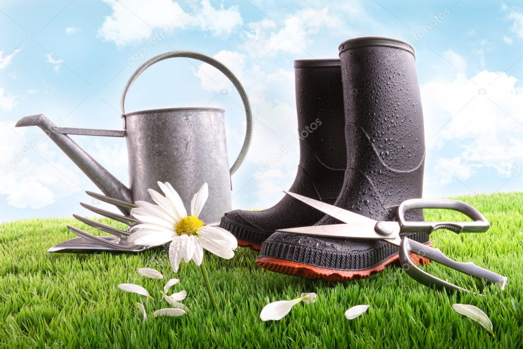 Rubber boots with watering can and daisy in grass — Stock Photo #3250515