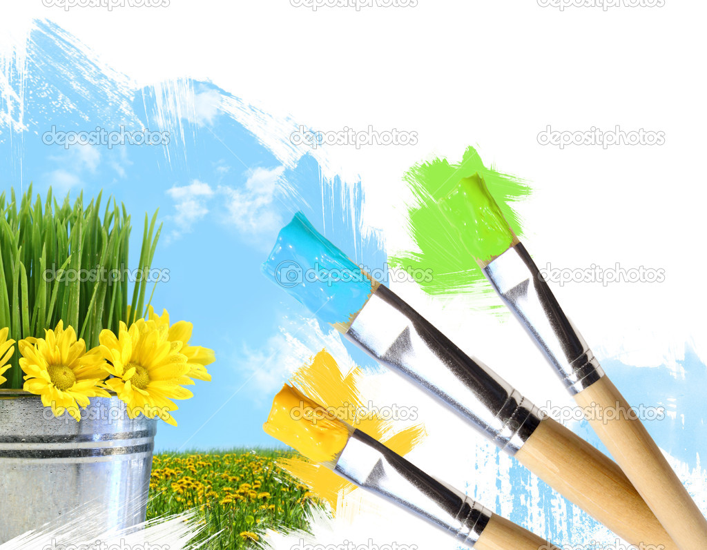 Brush painting a sky, green grass and flowers in pot — Stock Photo #3250621