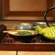 Green cast iron teapot — Stock Photo
