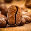 Closeup shot of a coffee bean on wood - Stock Photo