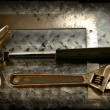 Work tools on a grunge metal background — Foto Stock