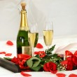 Romantic evening with champagne — Stock Photo