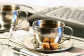 Cups of coffee ready for break — Stock Photo