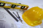 Arkitektritningar för ombyggnad — Stockfoto