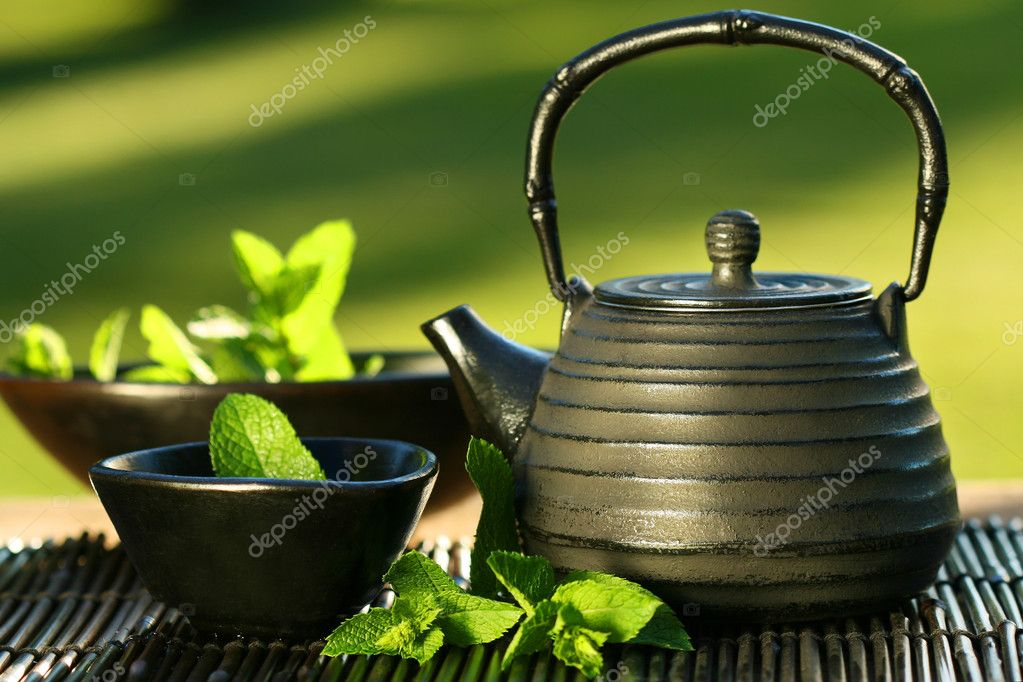 Black iron asian teapot with sprigs of mint for tea — Stock Photo #3266531