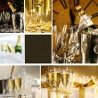Collage of champagne images for New Years — Stock Photo